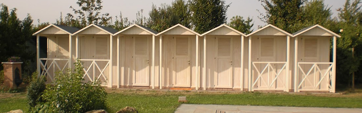 wooden cabins and kiosks